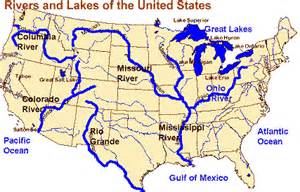 United States Major River Systems Map by Study Guide Us1