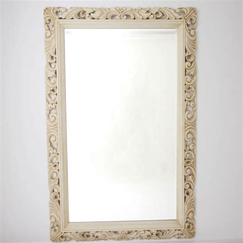 wood wall mirrors decorative carved wood ivory framed mirror by decorative mirrors