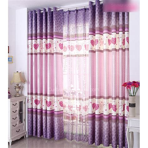 Pink And Purple Curtains Pattern Pink And Purple Polyester Floral Curtains