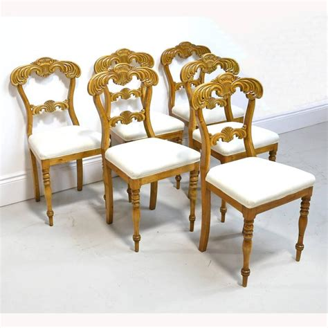 Birch Dining Chairs 19th Century Set Of Six Karl Johan Dining Chairs In Birch With Upholstered Seats For Sale At 1stdibs