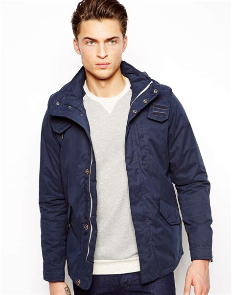 Hoodiejumperjaketsweater Pullbear 2 pull lightweight parka jacket in blue for lyst
