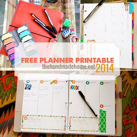 The Handmade Home Printable Planner | a dozen free 2014 calendars yesterday on tuesday