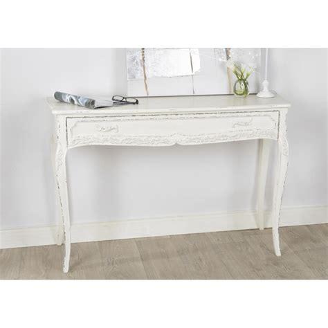console 224 tiroir comtesse 120 cm en bois patin 233 blanc