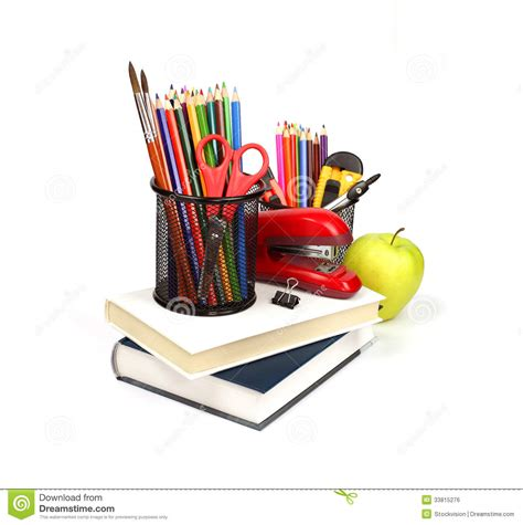 supplies and accessories books pencils isolated on whit royalty free stock image