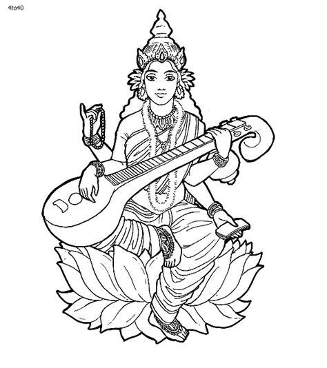 Saraswati Coloring Pages saraswati puja coloring pages portal for parents