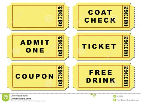 coat check tickets template ticket illustration set stock vector illustration of