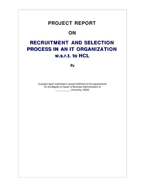 Questionnaire On Recruitment And Selection For Mba by Project Report On Recruitment And Selection Process In An