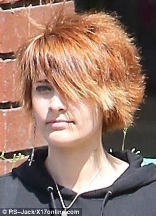 what hair style did paris jackson cut her hair paris jackson debuts her orange spiky cropped cut as she