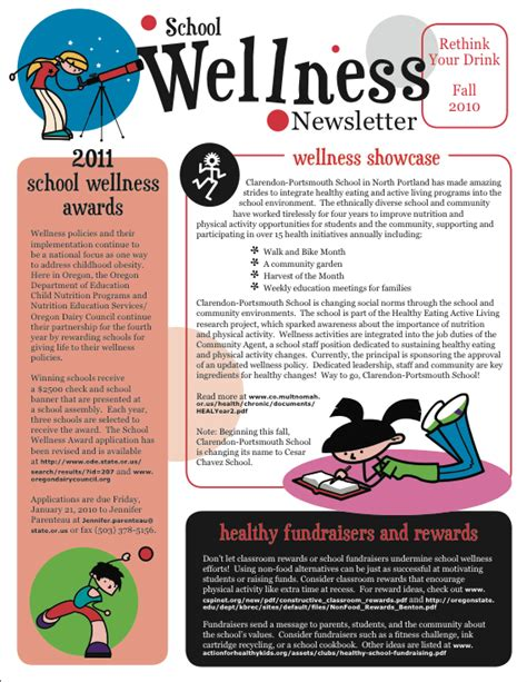 School Wellness Newsletter Fa2010 Pta Meetings Conferences Newsletter Design School Free Fitness Newsletter Templates