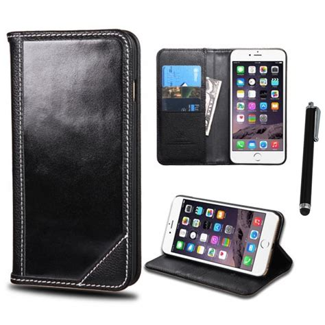 for iphone 6 6s plus 5 5 genuine real leather myjacket wallet stylus pen