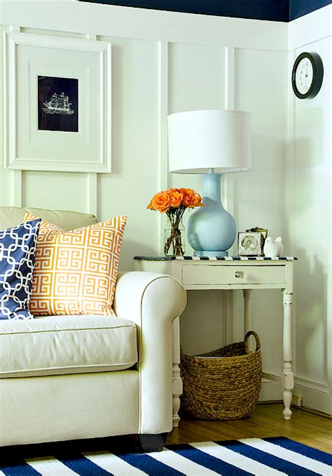 navy blue and white living room decorative storage basket in living room