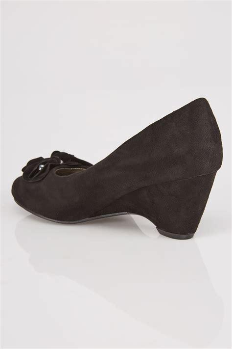 black comfort wedges black comfort insole suedette wedge shoe with flower trim