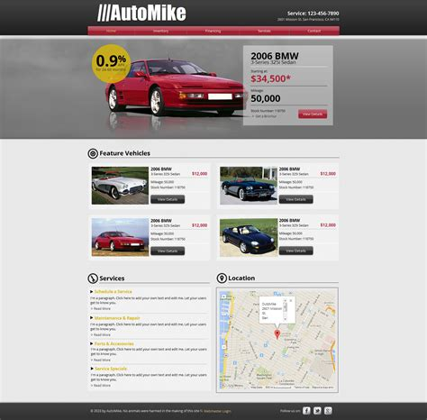 template wix car rental wix website template 47293