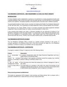 Certification Letter Of Residency Dubai Tax Residency Certificate