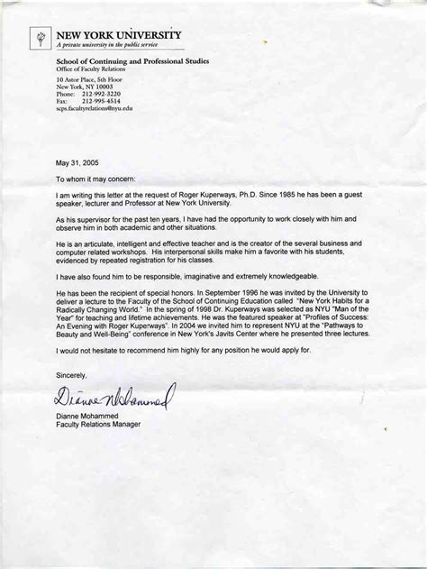Recommendation Letter Nyu Nyu Recommendation Letter Image Collections Letter Sles Format