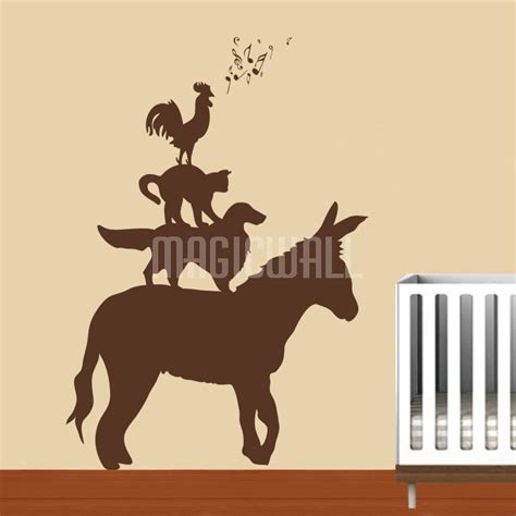 animal wall stickers wall decals bremen town musicians animals wall stickers