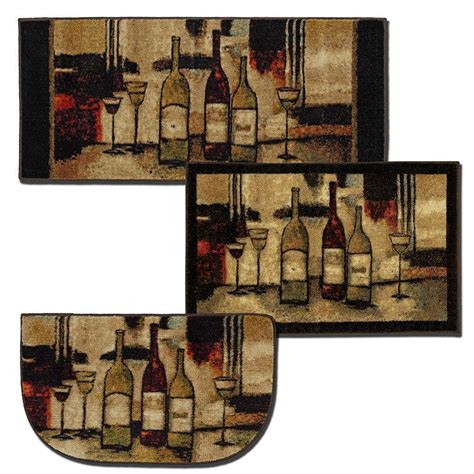 wine on rug mohawk home wine and glasses brown 2 ft 6 in x 3 ft 10 in 3 rug set 338176 the home