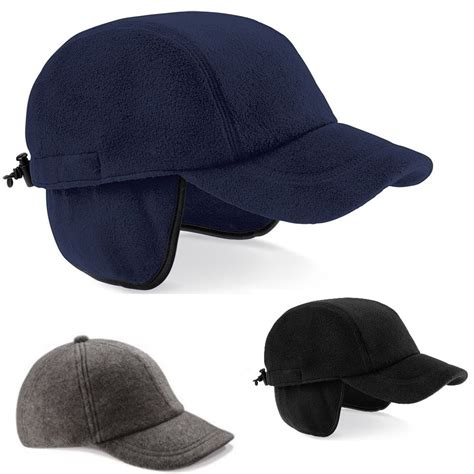 Kupluk Eiger A212 Beannies Grey black blue or charcoal grey fleece eiger baseball cap hat with ear flaps ebay