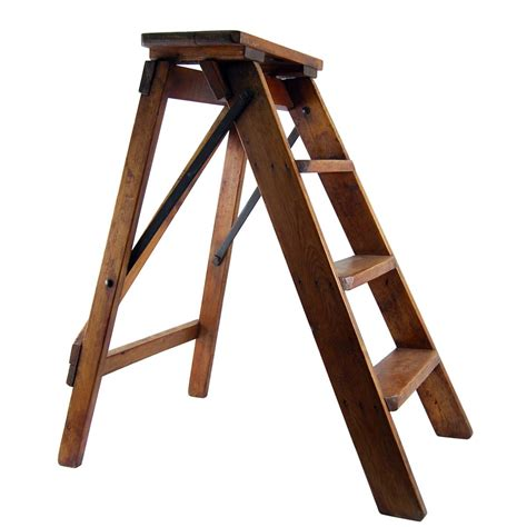 vintage step ladder with shelf old wooden step ladder
