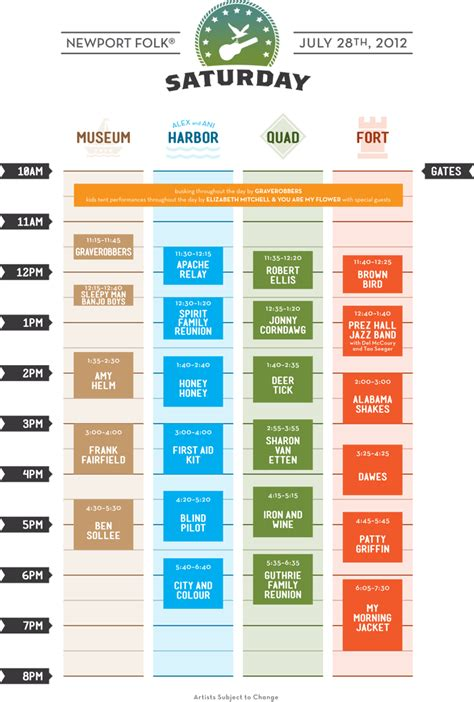 design html timetable quirky ny chick newport folk festival schedule cubes
