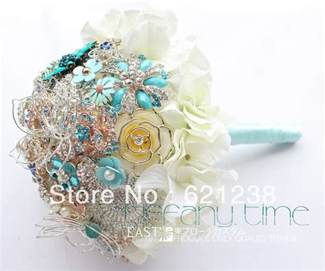Bouquet Bunga Plastik Artificial Palsu 9 inch bridal wedding bouquet brooch hydrangea bouquet feather the sides pearl