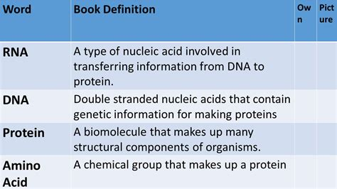 definition of a picture book protein synthesis dna vocab ppt