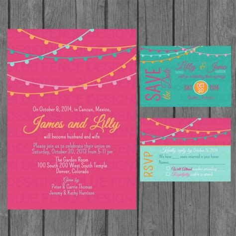 colorful wedding invitation templates simple wedding invitation suite modern colorful wedding