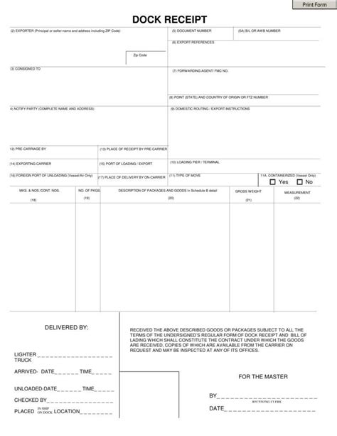 dock receipt template 5 lorry receipt format templates pdf free premium
