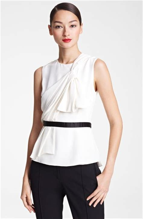 draped silk blouse jason wu draped silk blouse in white ivory lyst