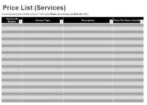 Excel Price Sheet Template by Price List Template Microsoft Excel Templates