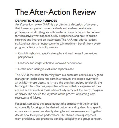 sle after action review template 7 documents in pdf