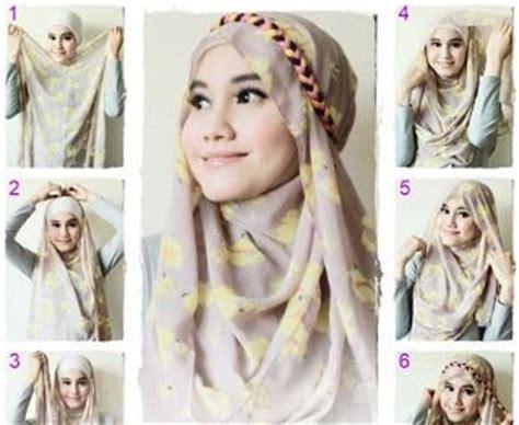 tutorial hijab pashmina headband tutorial cara memakai hijab modern pashmina praktis
