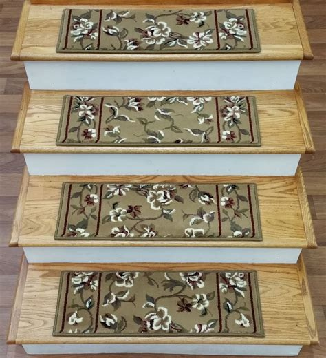 rug depo rug depot set of 13 floral carpet stair treads 26 quot x 9 quot beige background poly ebay