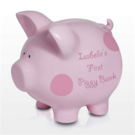 piggy bank new personalised baby piggy bank pink coin money box