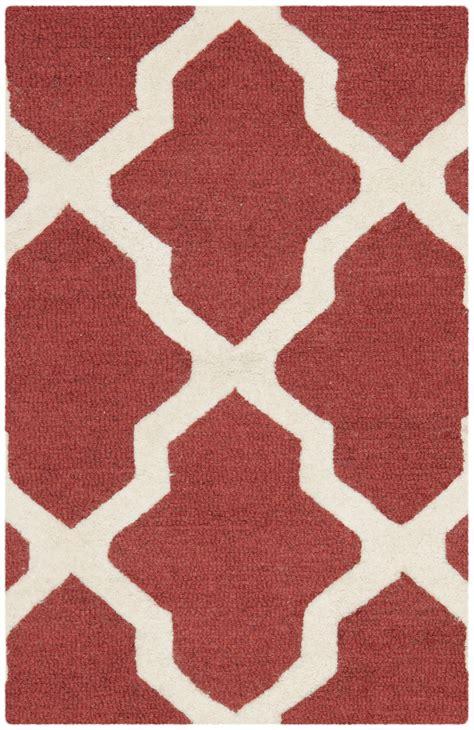 Safavieh Contemporary Rugs Safavieh Cambridge Rust Ivory Wool Contemporary Area Rug