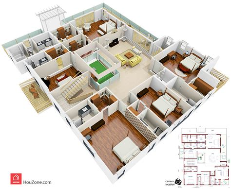duplex home design plans 3d 3d floor plan of a duplex house houzone