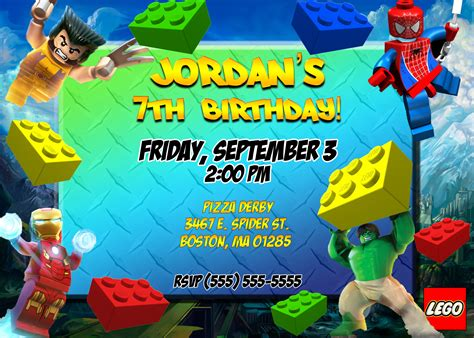 Lego Marvel Birthday Invitation   Kustom Kreations
