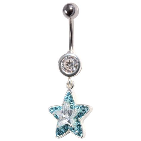 strass 925 silver belly button ring superimposed white