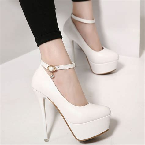 high heel pumps with ankle straps white platform ankle high heel pumps