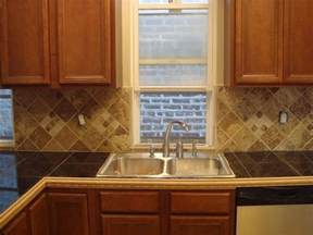 Tile Kitchen Countertop Ideas Granite Tile Countertop With Wood Trim Home Pinterest