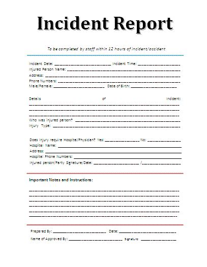 incident report template a to z free printable sle forms