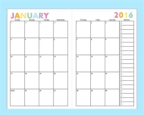 monthly planner printable a5 printable dated monthly planner for a5 planners junior