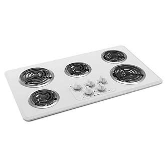 36 inch electric coil cooktop amana acc6356kfw 36 quot 5 element electric coil cooktop white