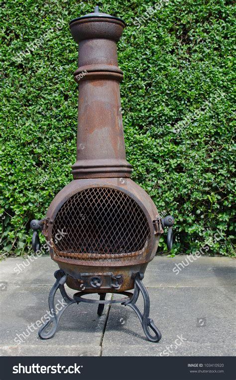 patio wood burning stove chimenea stock photo 103410920