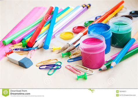 colorful office supplies office or school supplies stock image image 32546011