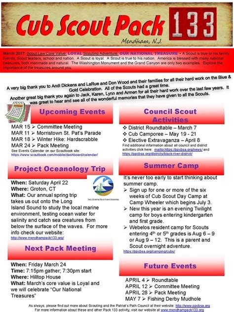 Newsletter Cub Scout Pack 133 Mendham Nj Bsa Newsletter Template