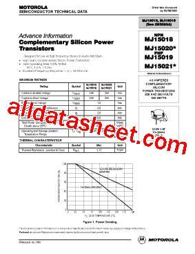 transistor mj15023 datasheet mj15021 datasheet pdf motorola inc