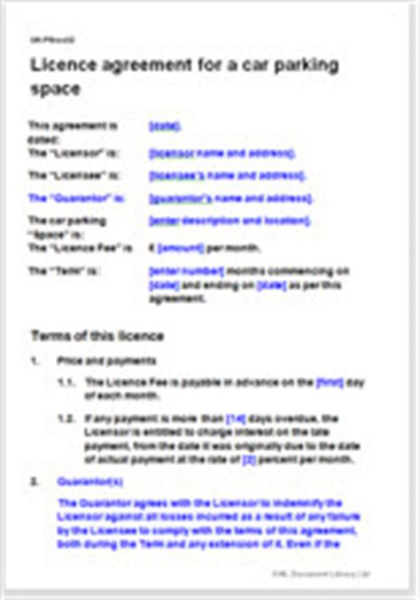 Licence Agreement For A Car Parking Space Car Parking Agreement Template