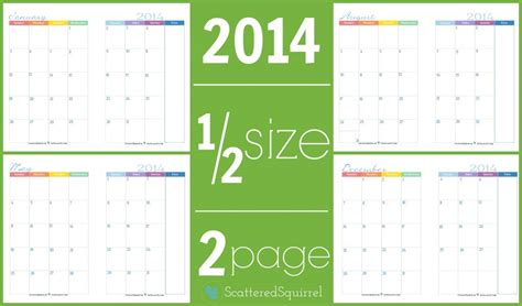 printable calendar half page 2014 calendars part 3 scattered squirrel