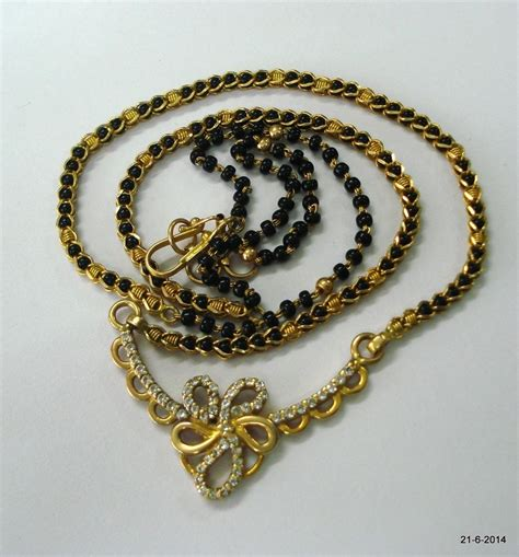 Gold Handmade Jewelry - vintage 20k gold mangalsutra chain necklace handmade